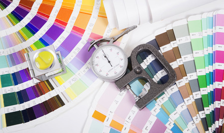 digital printing: Lens, pantone and micrometer  Design and prepress concept