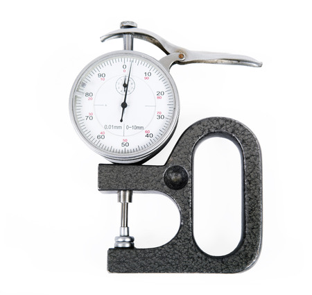 Micrometer with the round white dial Stok Fotoğraf