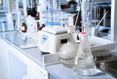 bacteriology:  Chemical laboratory background. Laboratory concept. Stock Photo