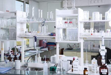 laboratory glass:  Chemical laboratory background. Laboratory concept. Stock Photo
