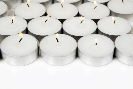 heal new year: White background from burning candles