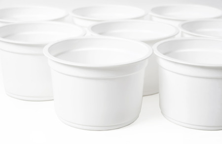 out of production: Empty white food glasses Stock Photo