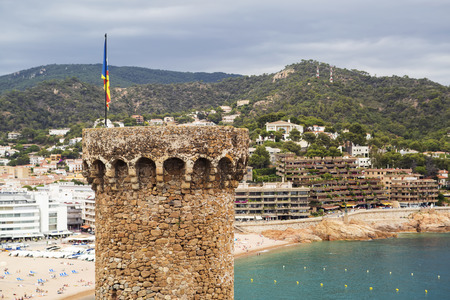 Tower with a Catalan flag. Europe. photo