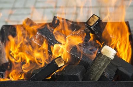 brazier: Fire in a brazier Stock Photo