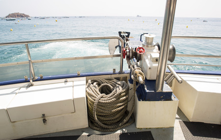 stern: View from a boat stern at the sea. Boat motor.