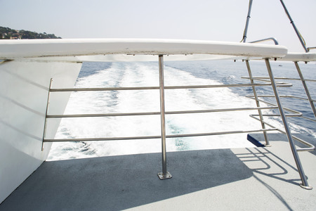 constrain: Moving boat. View from a vessel forage