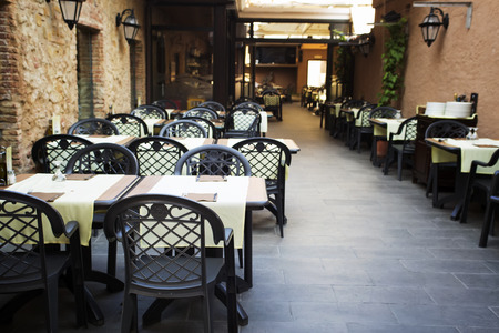 restaurant tables: Restaurant tables and chairs in the open air