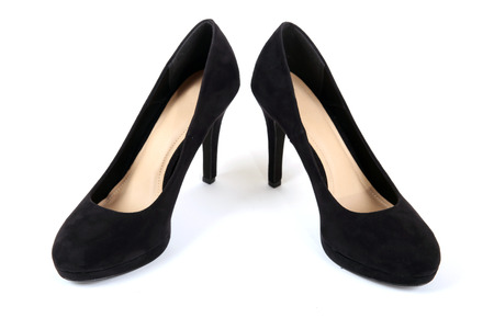 fashionable female: Fashionable female suede shoes Stock Photo