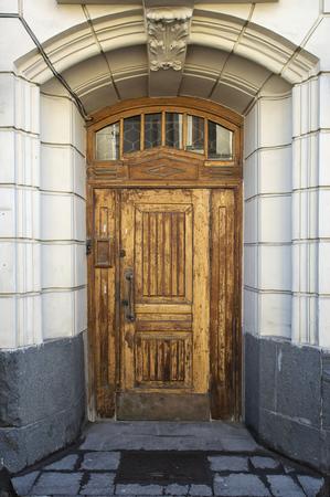 wood molding: Wooden door Stock Photo