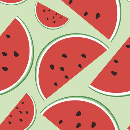 watermelon slice: Vector seamless illustration of watermelon on a light green background. Fruit ornament. Design for fabrics, textiles, paper, wallpaper, Internet. Minimalist style. Sample pattern.