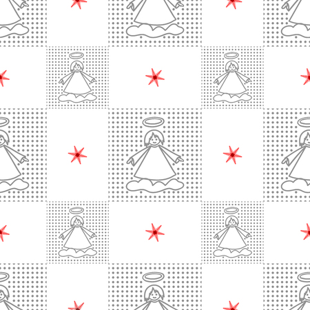 drown: Set of of seamless christmas patterns. Hand drown winter vector background.