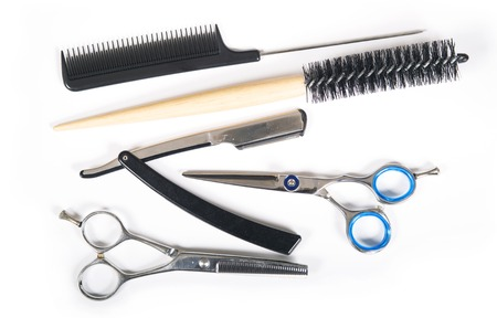 barber background: Barber or hairdresser tools isolated on white background