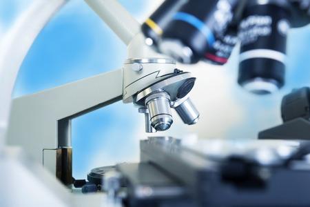 ocular: Professional ocular laboratory microscope with stereo eyepiece close-up. Stock Photo
