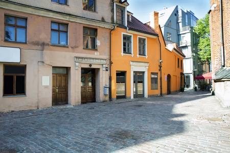 pavers: Empty streets of the old town of Riga pavers early summer morning