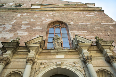 mentioned: Architectural details of Saint Pyotrs church - cathedral church of Roman Catholic Diocese of Riga, Latvia, Europe. For the first time Saint Peters church is mentioned in chronicles of 1209