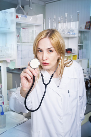 medical laboratory: Expressive woman medical student in laboratory Stock Photo