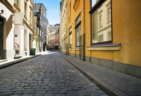 without people: Street without people early in the morning. Europe. Riga Stock Photo