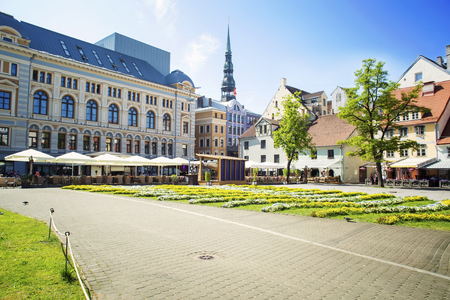 Street without people early in the morning. Europe. Riga Stock Photo