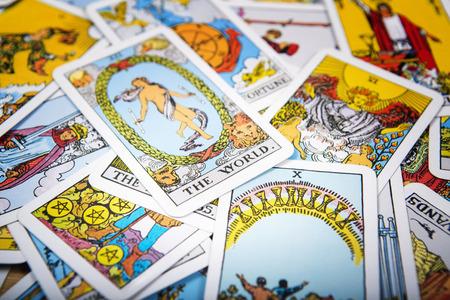 Tarot cards mystical old  background. Senior card world.