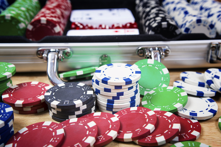 clubs diamonds: Poker cards and gambling chips background. Cards concept. Stock Photo