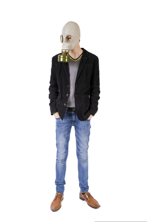 Guy in a gas mask Stock Photo