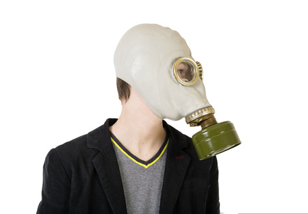 gasmask: Guy in a gas mask Stock Photo