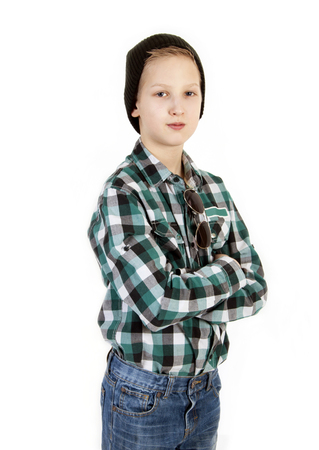 informal clothing: Boy in a cap. Youth fashion. Stock Photo