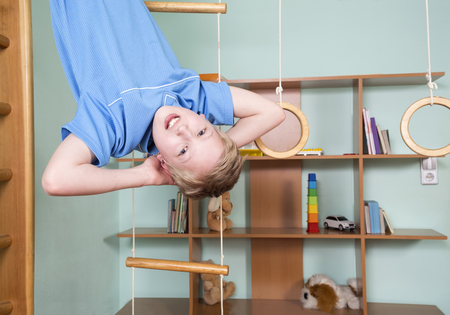 tightened: Boy in the children room Stock Photo