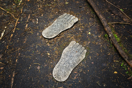 trampled: Prints of feet from granite on the trampled-down forest path Stock Photo