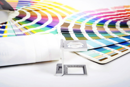 prepress: Lens  and pantone. Design and prepress concept
