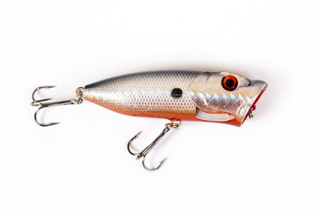 Fishing lure isolated on white. Wobbler in three color. White, yellow and red colors.