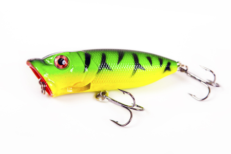 Fishing lure isolated on white. Wobbler in three color. Green, yellow and red colors.