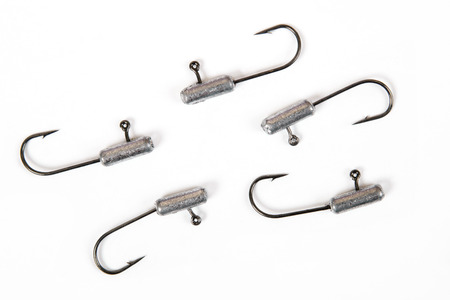 Fishing hooks isolated on white. Metal bait hook Stock Photo