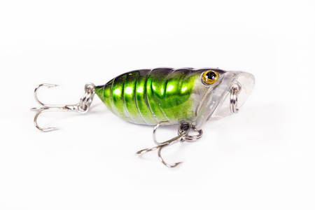 Fishing lure isolated on white. Wobbler in two color. Green and yellow colors.