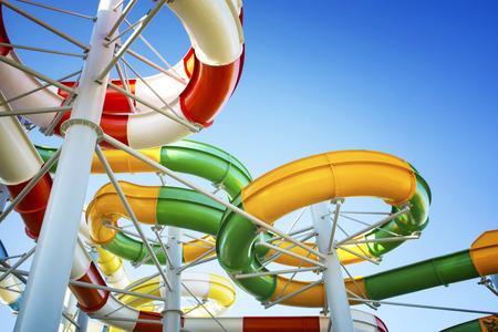 Water park with water colored flights and pools.