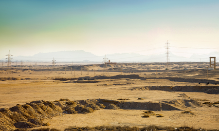 View on Eastern (Arabian) Desert with electrotowers and ditches for new constructions