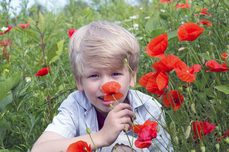 Nice blond boy with a red poppy in his hand. Farmer boy holding a red poppy in his hand