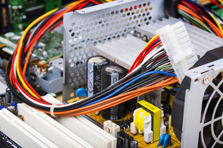 Electronic chip in the old computer server,select focus Stock Photo