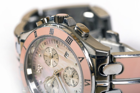 Luxury woman pink watch. Macro shot close up Stock Photo