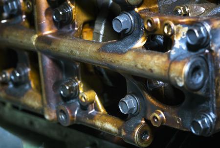 Car engine intake side receiver closeup in service