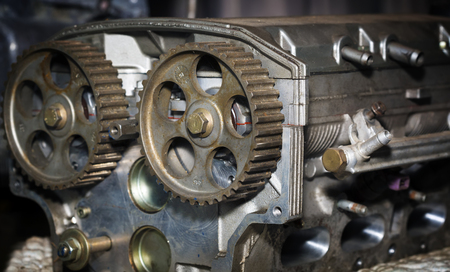 Car engine cylinder head after machine and assembly