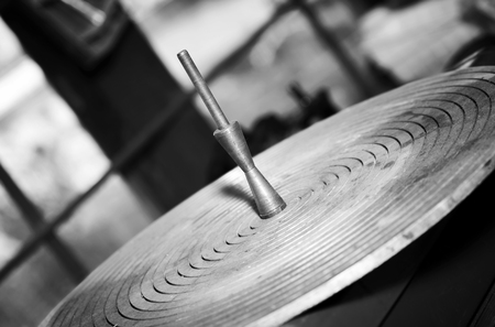 Propeller pitch plate.Selective focus, monochrome image