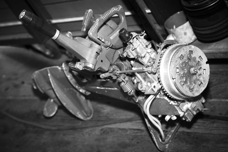 Boat racing steering engine part in service.