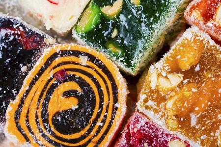Sweets soft candy Nougat background. Macro shot