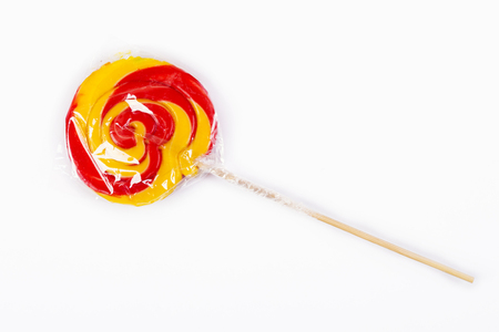 Colorful spiral lollipop isolated on white background Banco de Imagens