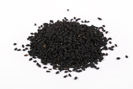 Black cumin seeds.Top view. Macro shot