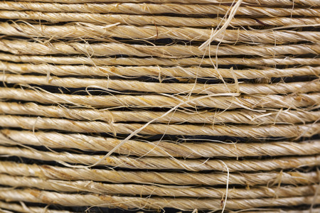 Brown hemp rope background. Macro shot