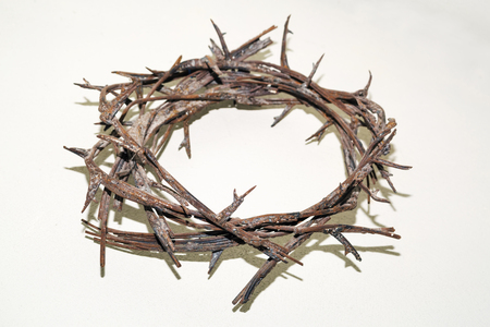 Crown of thorns from iron isolated over walls white background Banco de Imagens