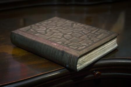 Old book wooden retro library desk, selective focus
