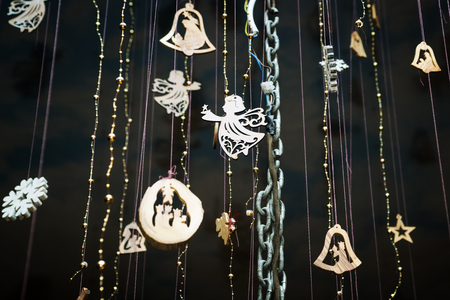 Christmas different pendants decoration as background
